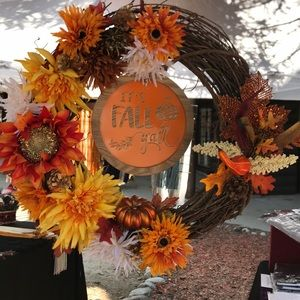"18"" It's Fall Y'all Grapevine Wreath -New"